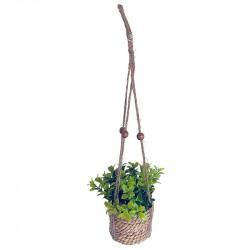 Växt i korg m upphängning, konstgjord plast