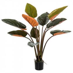 Philodendron i kruka, 10 löv, grön / vinröd, konstgjord växt