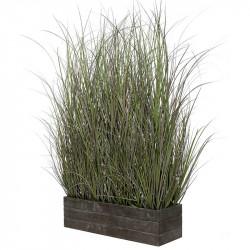 Gräs i rektangulär trälåda, konstgräs