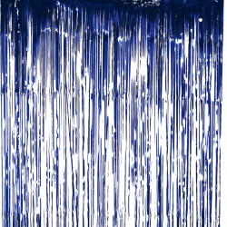 Lametta gardin / Folie gardin, mörkblå och glittrig, 100x200cm