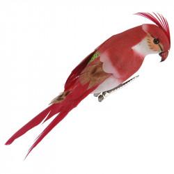Liten papegoja m klämma, röd, 13cm