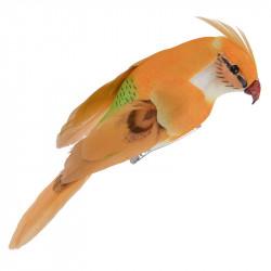 Liten papegoja m klämma, orange, 13cm