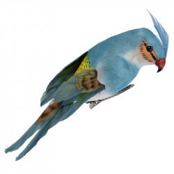 Papegoja med klämma, blå, 13 cm