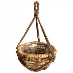 Korg av vattenhyacint flätad m makramé snöre upphängning