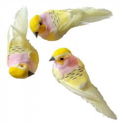 Fåglar med clips, ljusgula, 10,5 cm, 3 st per förpackning.