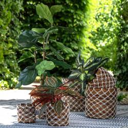 Korgar av bananblad och makramé, set med 3