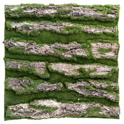 Barkplatta, 50x50cm, konstgjord mossa og ägta bark