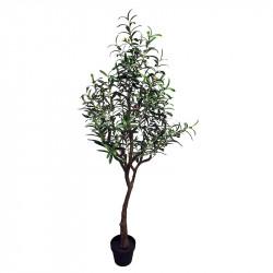Olivträd, 155 cm i svart plastkruka, konstgjord växt