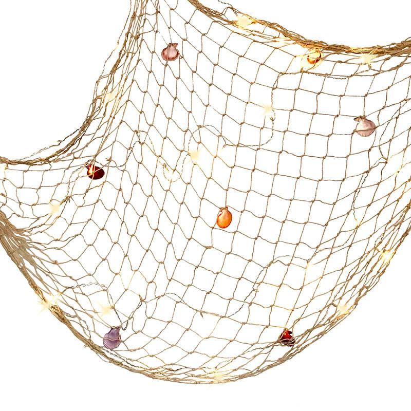 Fiskenät m 40 LED-lampor och snäckor, batteri, 140x70 cm