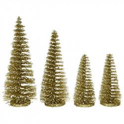 Juletræ i guld m glitter, fra 15cm, 4 stk, kunstig juletræ