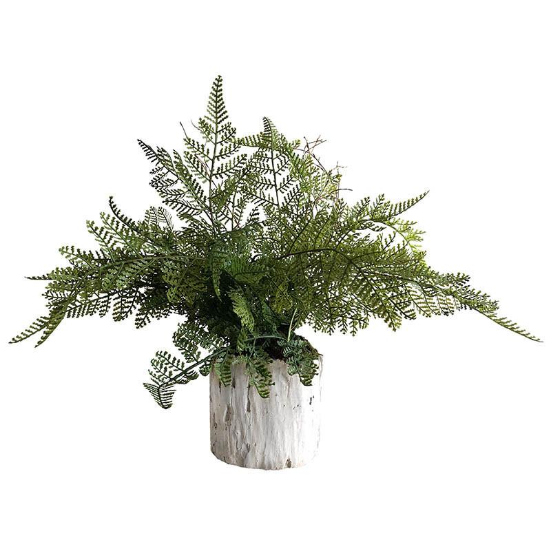 Ormbunke i cementkruka, 30 cm, konstgjord växt