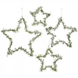 Stjerner m glitter og blomst, sæt a 4stk