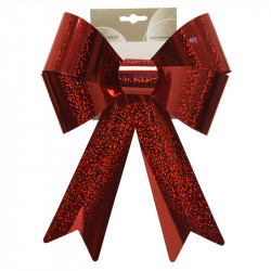 Sløjfe i plast, rød m glimmer, 32cm
