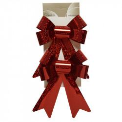 Rosetter i plast, röd med glitter, 19 cm, 2 st.