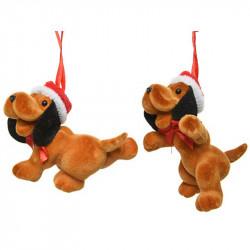 Juletræspynt, hund m ophæng, assorteret, kunstig dyr