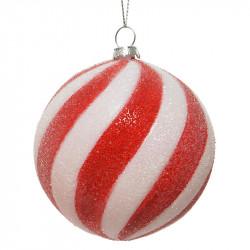 Juletræspynt, rund kugle m bolshe striber