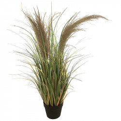Fjädergräs i svart kruka, 85 cm, konstgräs