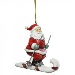 Juletræspynt, julemand på ski m ophæng, 12cm