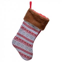 Julstrumpa i stickad plyschkant, brun