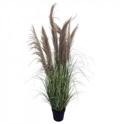 Fjädergräs i svart kruka, 140 cm, konstgräs