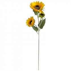 Solros på stjälk med 3 blommor, 90 cm, konstgjord blomma