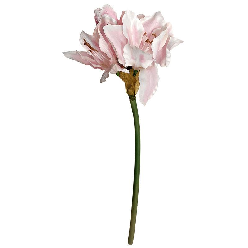 Amaryllis, lyserød/grøn, 63cm, kunstig blomst