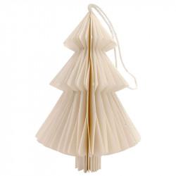 Juletræ i papir m ophæng, hvid,15cm