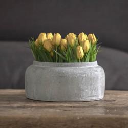 Tulpaner i kruka, 23 cm med 5 blommor Gul, konstgjord blomma
