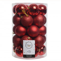 Julekugler, Rød mix, 8cm, 34stk./pakke
