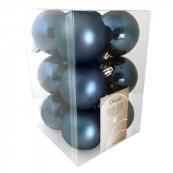 Julekugler,mørkeblå, 6cm, 12stk./pakke