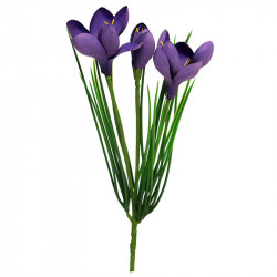 Krokusar på stjälk, Mörklila, konstgjord blomma