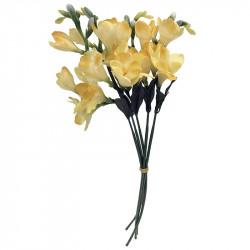 Fresiaknippe, 6 stjälkar m ljust gul blomma, H46cm,konstgjo rd blomma