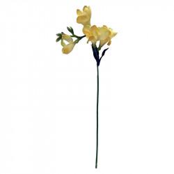 Fresiaknippe, 6 stjälkar m ljust gul blomma, H46cm,konstgjo rd