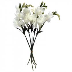 Fresiaknippe, 6 stjälkar med crèmefärgad blomma, H 46 cm,ko nstgjord blomma