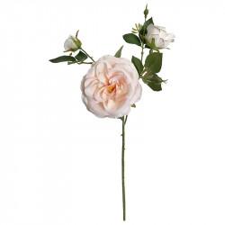 Rosenkvist m 3 blommor och m 2 knoppar, creme/lyserød, konstgjord blom
