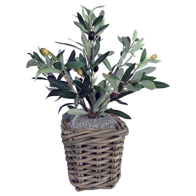 Olivträd i flätad fyrkantig kruka, konstgjord växt