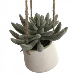 Hängande suckulent i vit kruka, Ø 14 H 13 cm,konstgjord växt