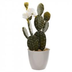 Fingerkaktus i kruka med vita blommor, konstgjord växt