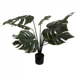 Monsteraväxt i svart kruka, 80 cm, konstgjord växt