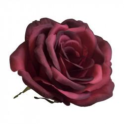 Ros på ståltråd, röd, Ø 10cm, konstgjord blomma