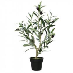 Olivträd, 48 cm i svart plastkruka, konstgjord växt