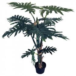 Högstam Philodendron, 140 cm i svart kruka, konstgjord växt
