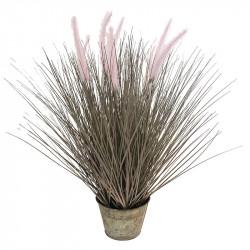 Gräs i zinkkruka, 58 cm, konstgräs