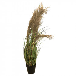 Fjädergräs i svart kruka, 65 cm, konstgräs