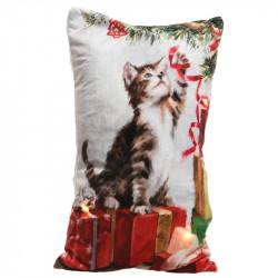 Kudde med LED-lampor och julmotiv med en katt