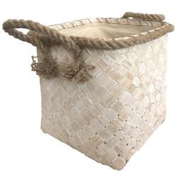 Flätad korg, 31 x 31 x 36 cm, med rep och handtag