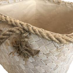 Flätad korg, 39 x 39 x 46 cm, med rep och handtag