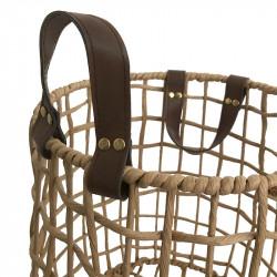 Flätad korg, rund med läderhandtag, Ø 35 cm H 37cm