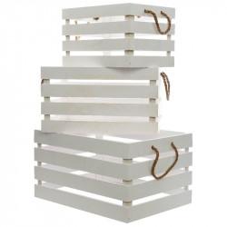 Plywoodlådor med handtag, 3 st./set, Vit