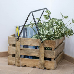 Växtlåda i mangoträ med handtag, 25 x 35 x 21 cm